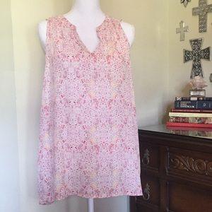 Pink/yellow/cream sleeveless transparent top
